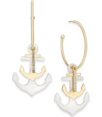 inc international concepts gold-tone pave bar & double anchor charm convertible hoop earrings, created for macy's