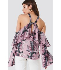 glamorous halter ruffle print top - pink,multicolor