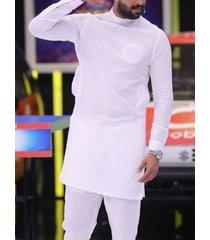 incerun hombres casual thin comfortable soft camiseta con dobladillo con abertura en el bolsillo delantero