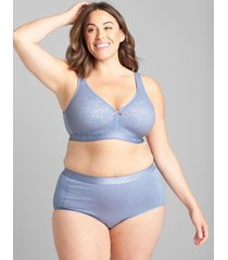 lane bryant women's cotton lightly lined no-wire bra with lace 44dd country blue