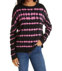 women's alice + olivia gleeson tie dye cashmere blend sweater, size x-large - black