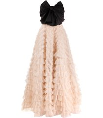 red valentino bow-detail tiered tulle gown - black