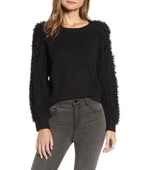 1.state fringe sleeve sweater, size xx-large in rich black at nordstrom