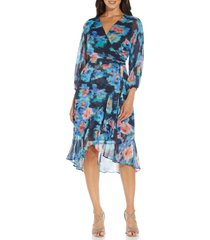 adrianna papell long sleeve faux wrap chiffon dress, size 10 in blue multi at nordstrom