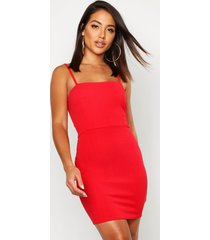 crepe square neck bodycon dress, red