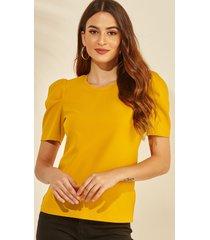 yoins amarillo redondo cuello camiseta con mangas abullonadas
