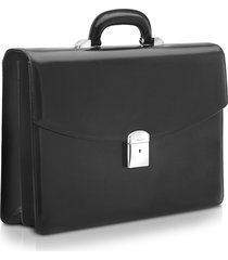 pineider designer travel bags, 1949 - black calfskin double gusset briefcase