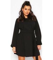 plus blouson sleeve belted shift dress, black