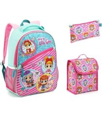 mochila infantil hey little girls com lancheira estojo feminina