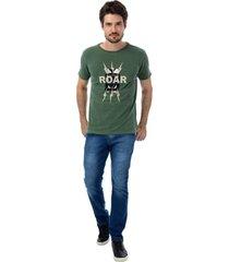 camiseta masculina careca roar verde - verde - masculino - dafiti
