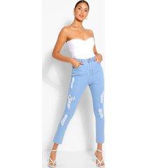 super versleten high rise skinny jeans, lichtblauw