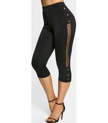 lace insert mock button capri leggings