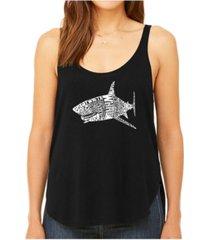 la pop art women's premium word art flowy tank top- species of shark