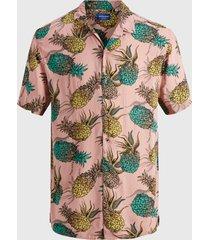 camisa jack & jones jorvirgil shirt ss rosa - calce regular