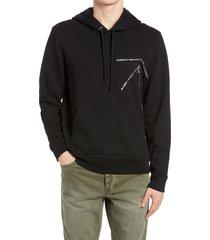 men's 7 for all mankind 7-zip men's hooded sweatshirt, size xx-large - black