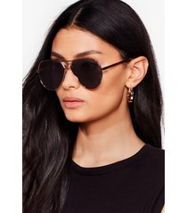 womens pause and reflect mirrored aviator sunglasses - gold