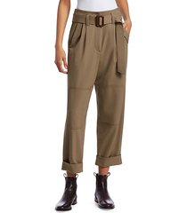 couture belted rolled cuff pants