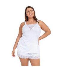 pijama short doll imi lingerie em microfibra e renda plus size cecília branco