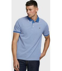 polera jack & jones piqué polo azul - calce regular