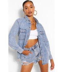 oversized gebleekte spijkerblouse met zakken, middenblauw