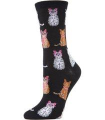 memoi studious cats women's novelty socks