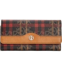 giani bernini plaid block signature receipt wallet