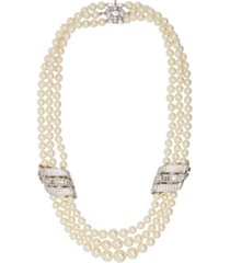 grace kelly collection rhodium plated triple strand wedding necklace