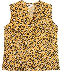 blusa m/s amarilla animal print color amarillo, talla 6