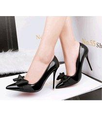 pp343 elegant pointy pump w black bowtie, patent leather,us size 4-8.5, black