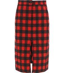 msgm tartan pencil skirt