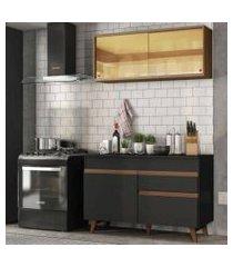 cozinha compacta madesa reims 120001 com armário e balcão preto/rustic preto/rustic