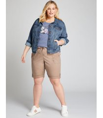 lane bryant women's pull-on bermuda short 26/28 taupe gray