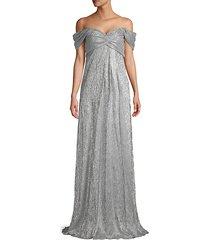 metallic off-the-shoulder column gown
