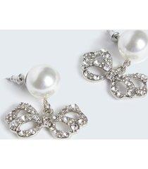 motivi orecchini a perla con pendente donna grigio