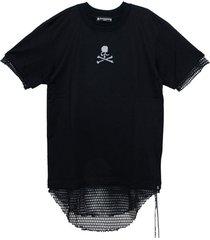 black mesh logo double layer t-shirt