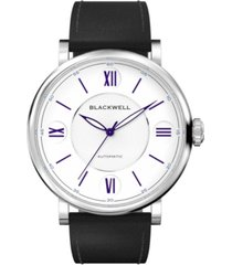 blackwell white dial with silver tone steel and black leather watch 44 mm