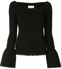 3.1 phillip lim ribbed open neck top - black