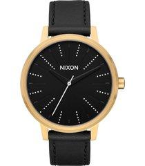 reloj kensington leather dorado nixon