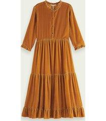 scotch & soda fluwelen midi-jurk met driekwartmouwen