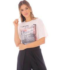 camiseta casual con grafico blanca - mujer