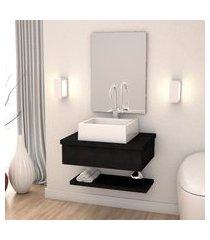 kit bancada p/ banheiro compace metrópole 606 cuba q355 preto onix