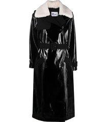 self-portrait detachable-collar patent trench coat - black