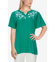 plus size savannah casual floral embroidered short sleeve top