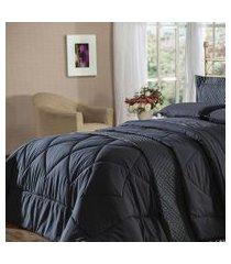 cobre leito queen plumasul soft touch 240x260cm microfibra preto