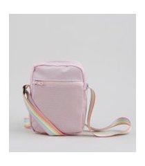 bolsa shoulder bag unissex transversal pequena pride com bolso rosa