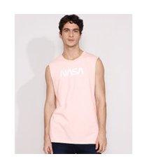 regata masculina nasa gola careca rosa claro