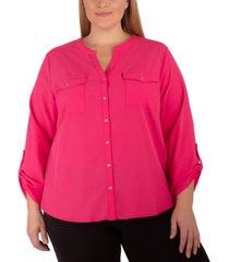 ny collection plus size mandarin-collar blouse