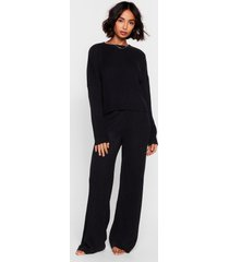 womens knit alone sweater and wide-leg lounge set - black