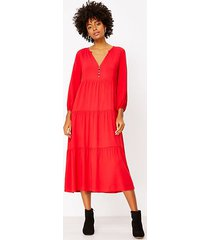 loft petite tiered midi dress