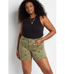 maurices plus size womens vintage olive star print 6in shorts green